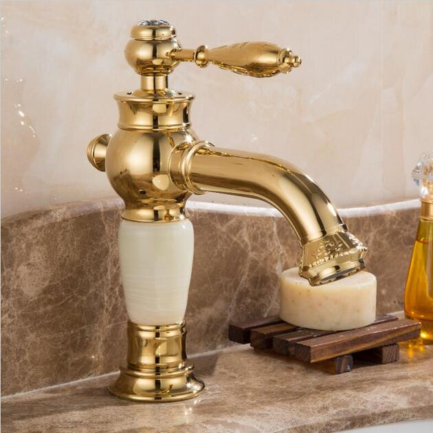 New Arrivals deck mounted brass and Jade water faucet Bathroom Basin faucet Mixer Tap Gold Sink Faucet Bath Basin Sink Faucet new design gold plating luxury bathroom basin faucet single handle vanity sink mixer water tap brass and jade basin sink faucet