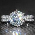 Luxury 3 Carat ct Laboratorio Crecido anillo de Compromiso de La Boda de Color F Anillo de Diamante de Moissanite Con Acentos de Diamante Sólido 14 K 585 Blanco oro