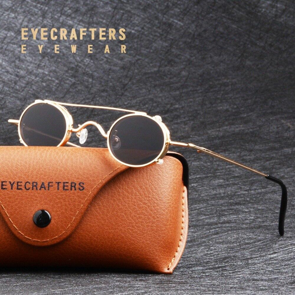 Brand Design Gold Black Small Round Sunglasses Mens Gothic Steampunk Sunglasses Womens Fashion Retro Vintage Eyewear