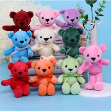 Colorful Teddy Bear Plush Toy 12cm Key Pendant Doll High Quality Chain 10 color  And 10pcs/lot