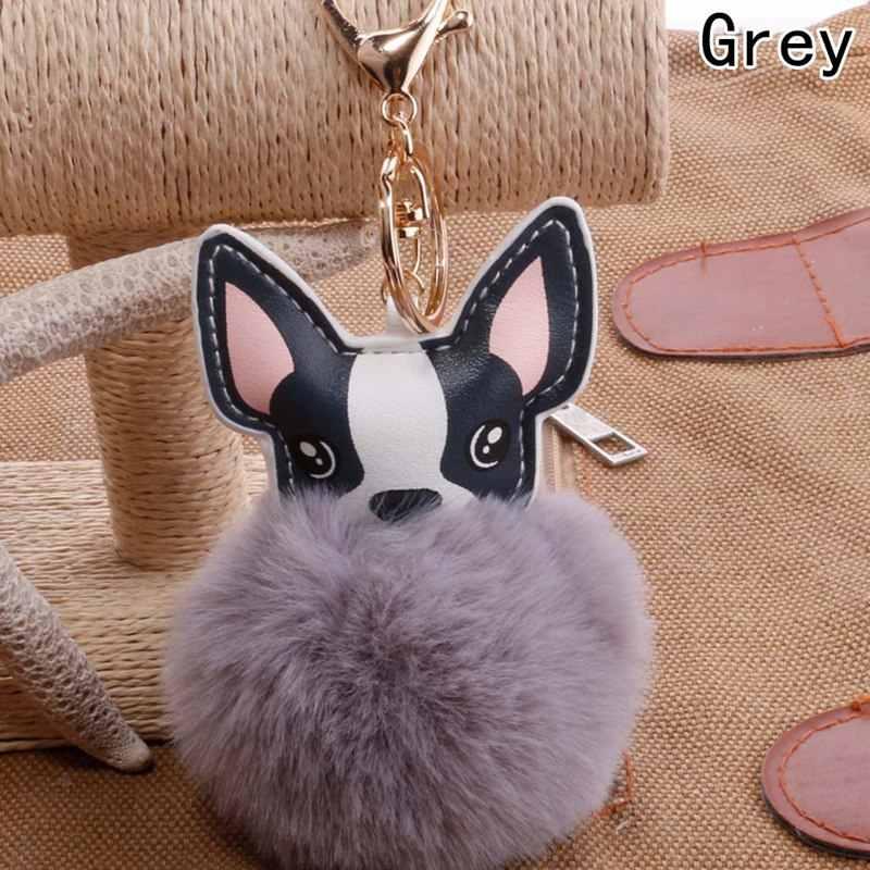 หนังเทียมขนลูกบอลภาษาฝรั่งเศสคำ Bulldog พวงกุญแจกระต่ายขนขนปุย Pompon พวงกุญแจกระเป๋าเสน่ห์