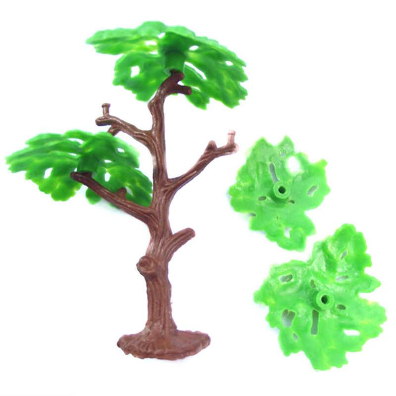 Z tworzywa sztucznego Model architektoniczny drzewa pociągu scenerii krajobraz Park kolejowy sosna budynku zestawy zabawki dla dzieci 2 sztuk