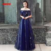 FADISTEE New arrival evening prom party dresses Vestido de Festa gown Robe De Soiree lace pattern little star navy blue long