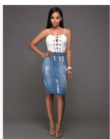 S Xl Women Summer Two Pieces Sets 1 Pieces Sling Tops And 1 Pieces Denim Hole