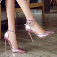 Female Summer Tip High Heel Pseudo Niang Drag Shoes A Word Belt Buckle Change To Install 12cm Thin And Hollow King Size Sandals