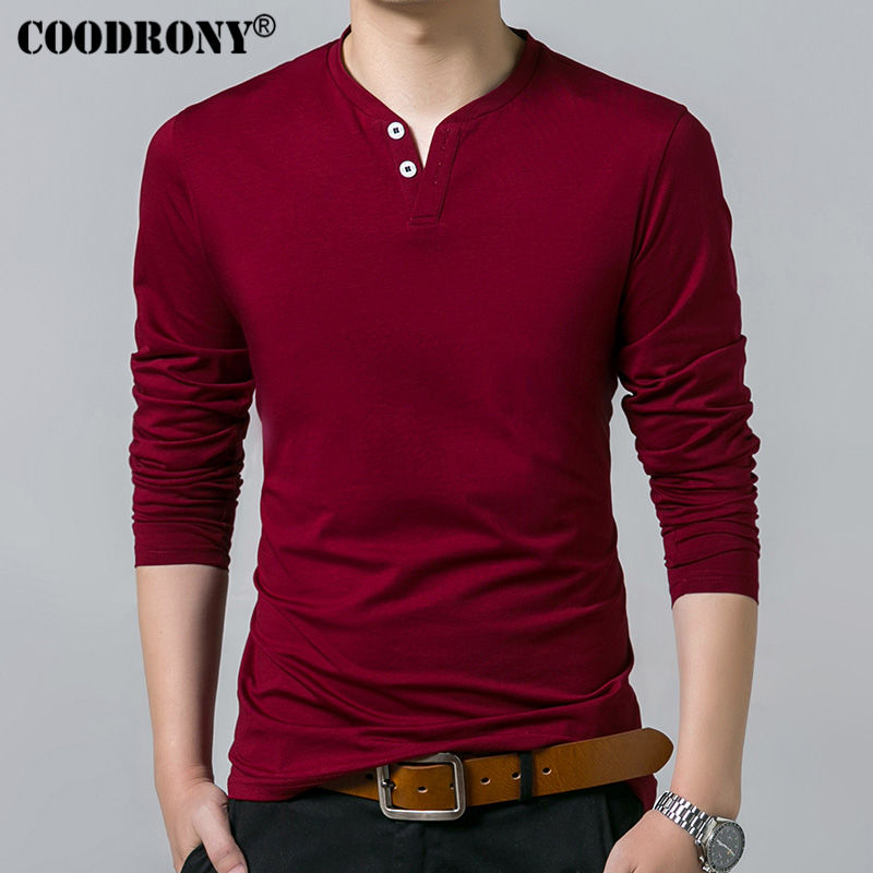 Coodrony T-shirt Men Spring Autumn New Long Sleeve Henry Collar T Shirt Men Brand Soft Pure Cotton Slim Fit Tee Shirts 7625 #3