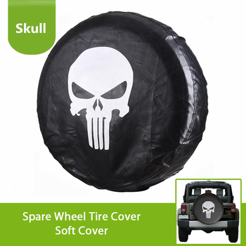 Car Covers For 2018 Jeep Wrangler JL JK Suv Spare Tire Cover Punisher Skull Type For Suzuki Trailer Wheel Exterior Accessories 12 5 inch 3rd led spare tire red brake light car styling round tail wheel signal lamps for jeep wrangler jk off road accessories
