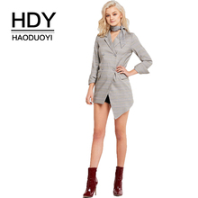 HDY Haoduoyi West Simple Style Plaid Irregular Long Casual Suit Women Office Wear Patching Autumn Fashion Open Front Notched hdy haoduoyi west style simple v neck asymmetrical hem chiffon micro perspective sexy maxi party dress women dresses