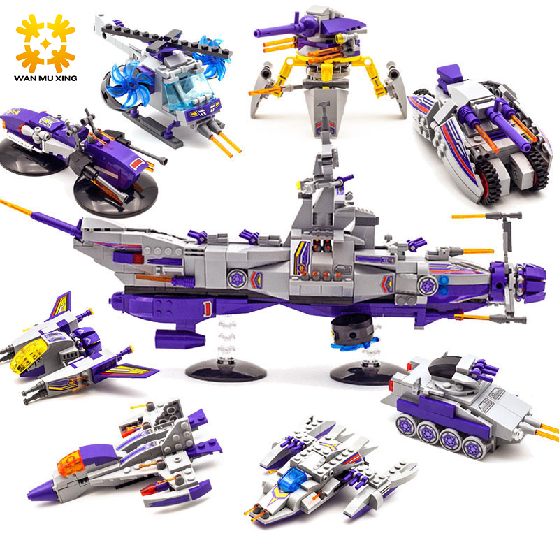 1402 683pcs 8 in 1 Space War Warship Building Blocks Sets Children Kids Toys compatible with major brand blocks bandai million generations of genuine space warship garunto 2199 space re burst fighter no 17