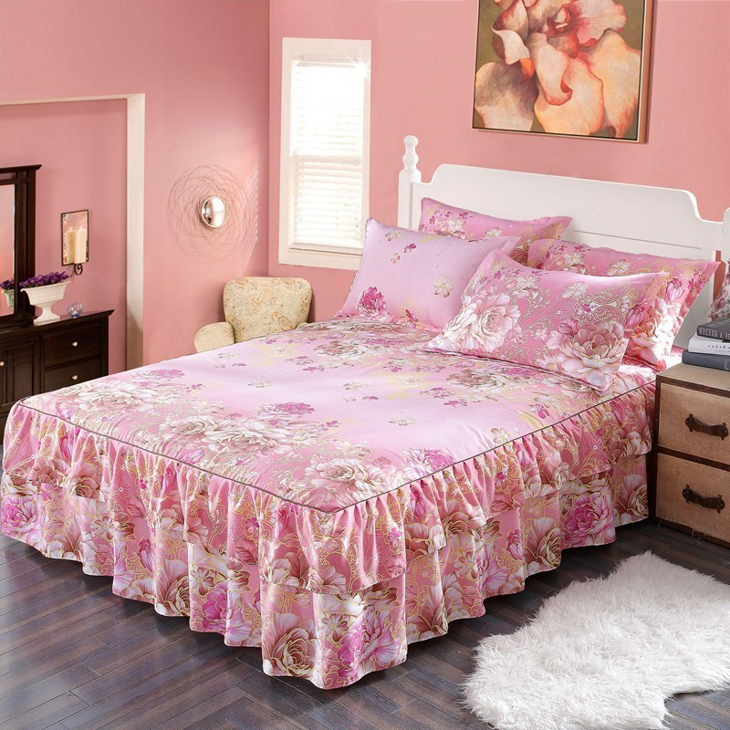 Jeefttby Korean Plant Flower Pattern Decoration Fit Bed Skirt Bedding Set 3pcs Large Bed Linen Bed