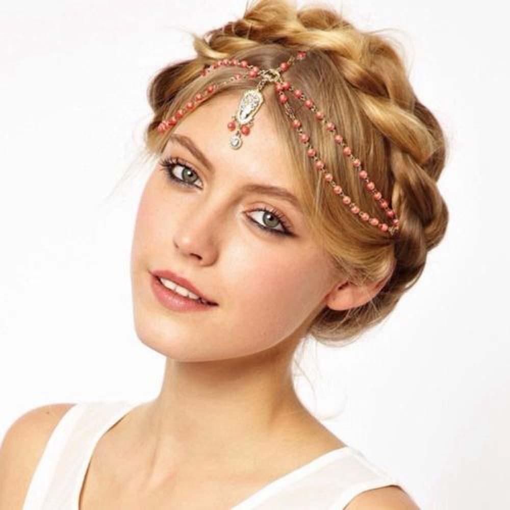 us $1.57 10% off new hair decoration hair band head dress headbands fashion  indian boho white/red beaded head piece women head chain hair jewelry-in