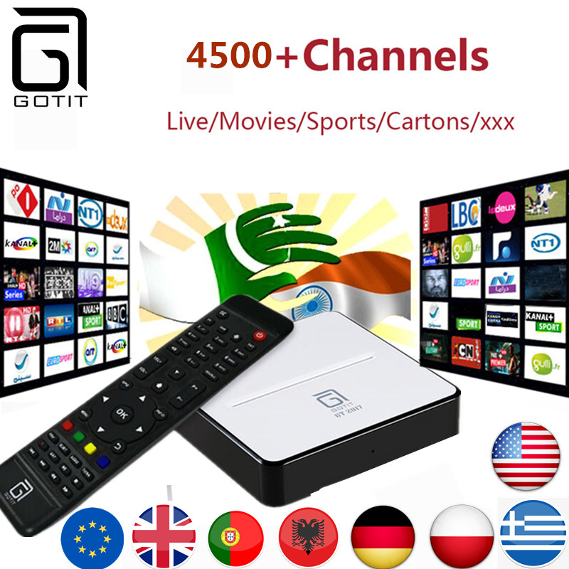 GOTiT Indian IPTV GT2017 Android DVB-S2 IPTV Box with 4500+Power Arabic Pakistan Turkish Sports Adult IPTV channels Smart TV Box twip gotit 53