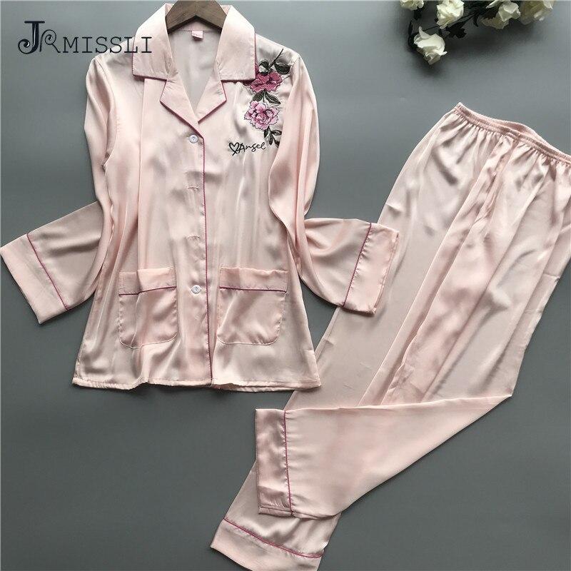 JRMISSLI Pyjama Women Satin Sleepwear 2019 Spring Long Sleeve Women   Pajama     Sets   Embroidery Home Wear Elegant Pijama Mujer Suit
