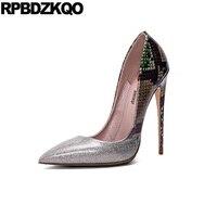 Echtes Leder Größe 4 34 Stiletto Silber Weibliche 10 42 2017 Sexy Damen High Heels Schuhe Pumpen 12 cm 5 Zoll Snakeskin Extreme