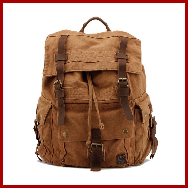 100% Cotton Canvas Backpack Men,Military Backpack,Vintage School Bag,Mens Backpacks,Mens Travel Bags,Rucksack