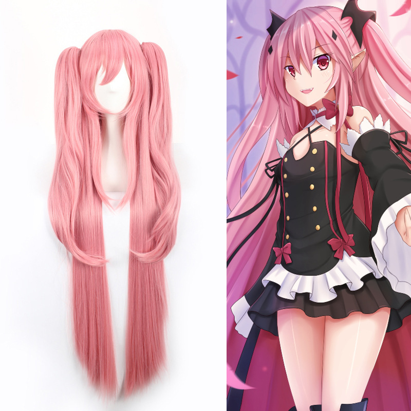 Krul Tepes 100CM Long Straight  Wig Owari No Seraph Of The End Synthetic Hair Anime Cosplay Wig Ponytail Wigs