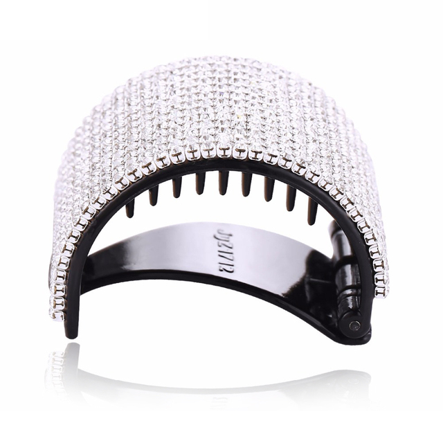 Elegant Hear Clip with White Crystals