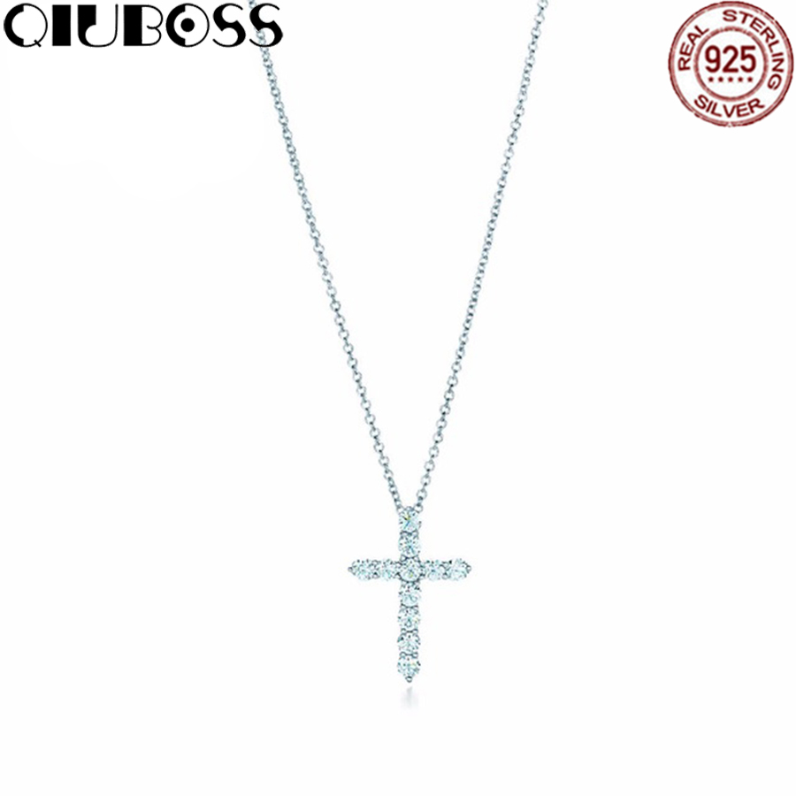 QIUBOSS Fashion And Simplicity Cross Pendant Necklace TIFF 925 Sterling Silver Nature Fashion Jewelry fashion 925 sterling silver vintage nature beeswax