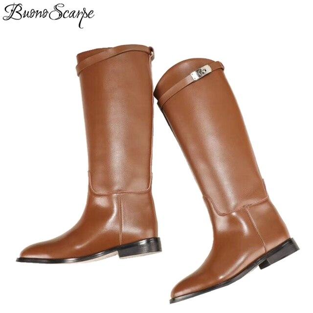 BuonoScarpe kobieta botki motocyklowe projektant prawdziwej skóry długie buty pasek Metal Shark blokada płaski obcas buty do kolan