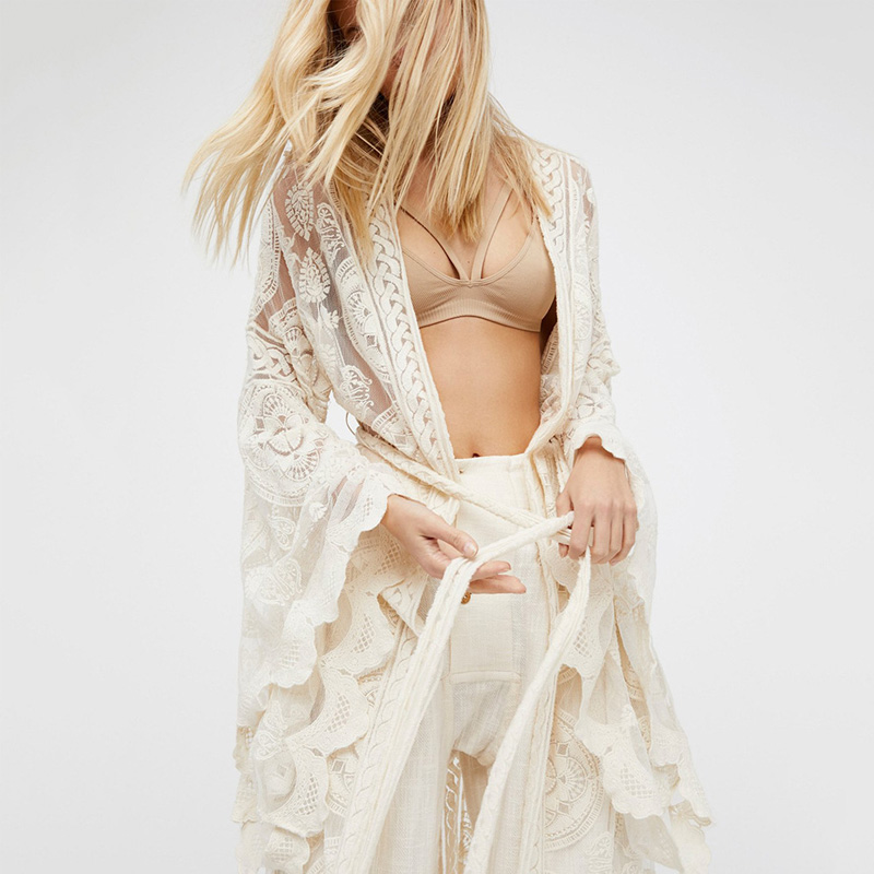 Women's Clothing Flare Sleeve Sexy Lace Long Kimono Cardigan Beach Boho Shirts For Women Beach Holiday Cardigan Wrap Long Blouse Autumn Outwear Orders Are Welcome.
