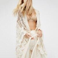 Women Boho Long Cardigan Summer Beach White Lace Cover Up Sashes Kimono Casual Blouse Shirt Plus Size Vintage Loose Tops Crochet