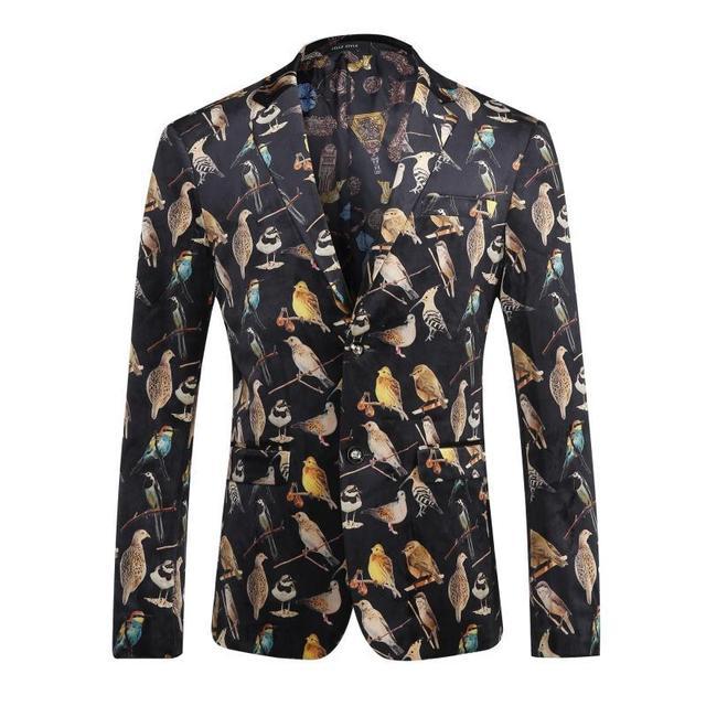 Bird Digital Print Traje de Chaqueta de Los Hombres 2017 Marca de Lujo de Los Hombres Partido de la Etapa de Un Solo Pecho chaqueta Informal Slim Fit Traje Homme hombres