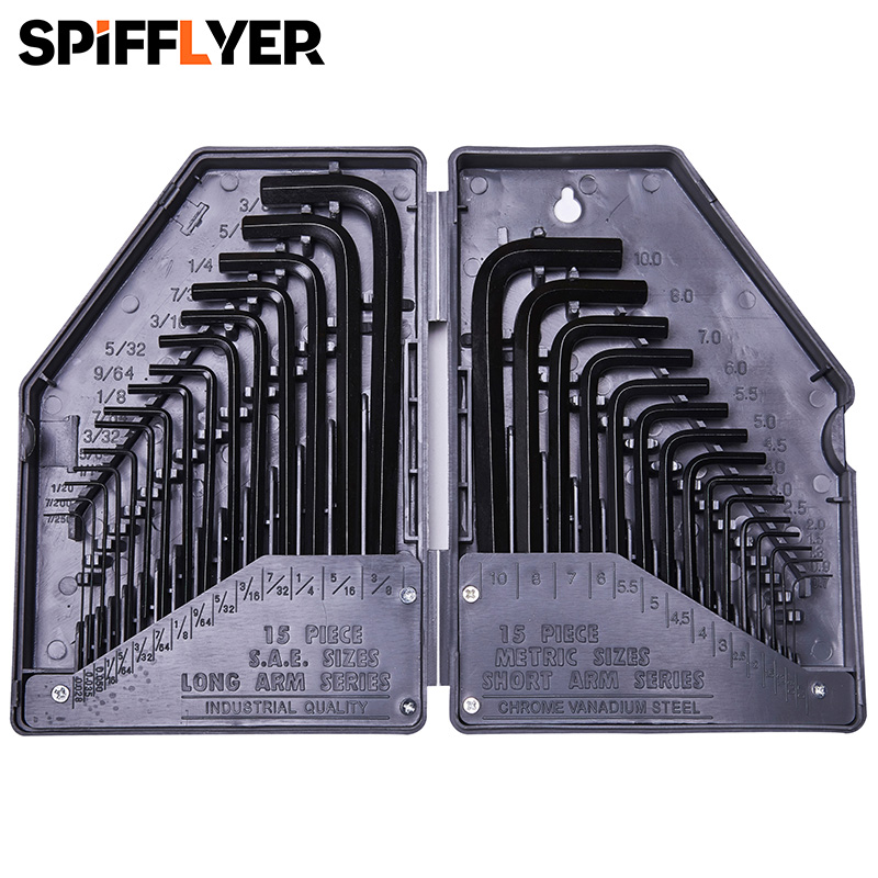 30pc Large Hex Allen Key Set Metric Imperial 0.7mm 10mm 15320
