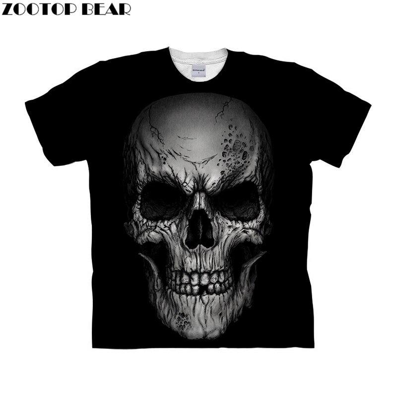 Skull tshirt 3d t shirt Mens t-shirt Black Top Tee Short Sleeve Tee Fashion Camiseta O-neck Top Streetwear Drop Ship ZOOTOP BEAR