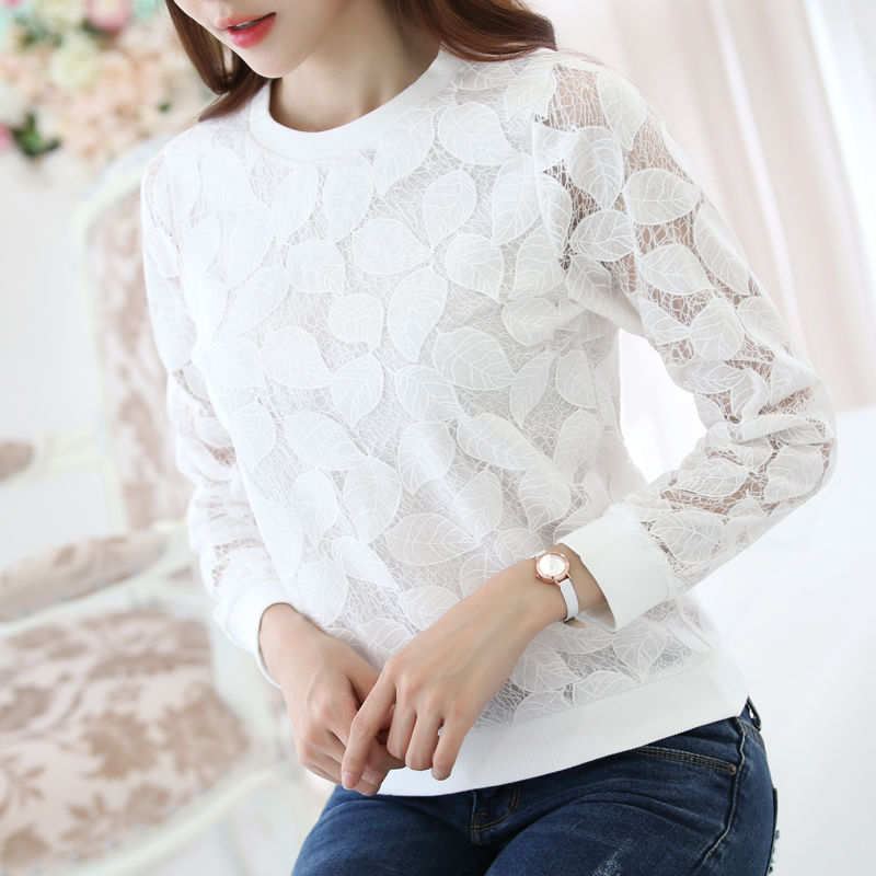 2019 New spring Fashion Lace chiffon women Blouses Shirt Female casual loose Long Sleeved Shirts top 883H 25