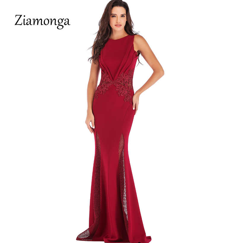 Ziamonga 2019 Runway Lace Prom Long Dress Women Jersey Gown Evening Party  Maxi Dress Fashion Causal a9aadc001b6d