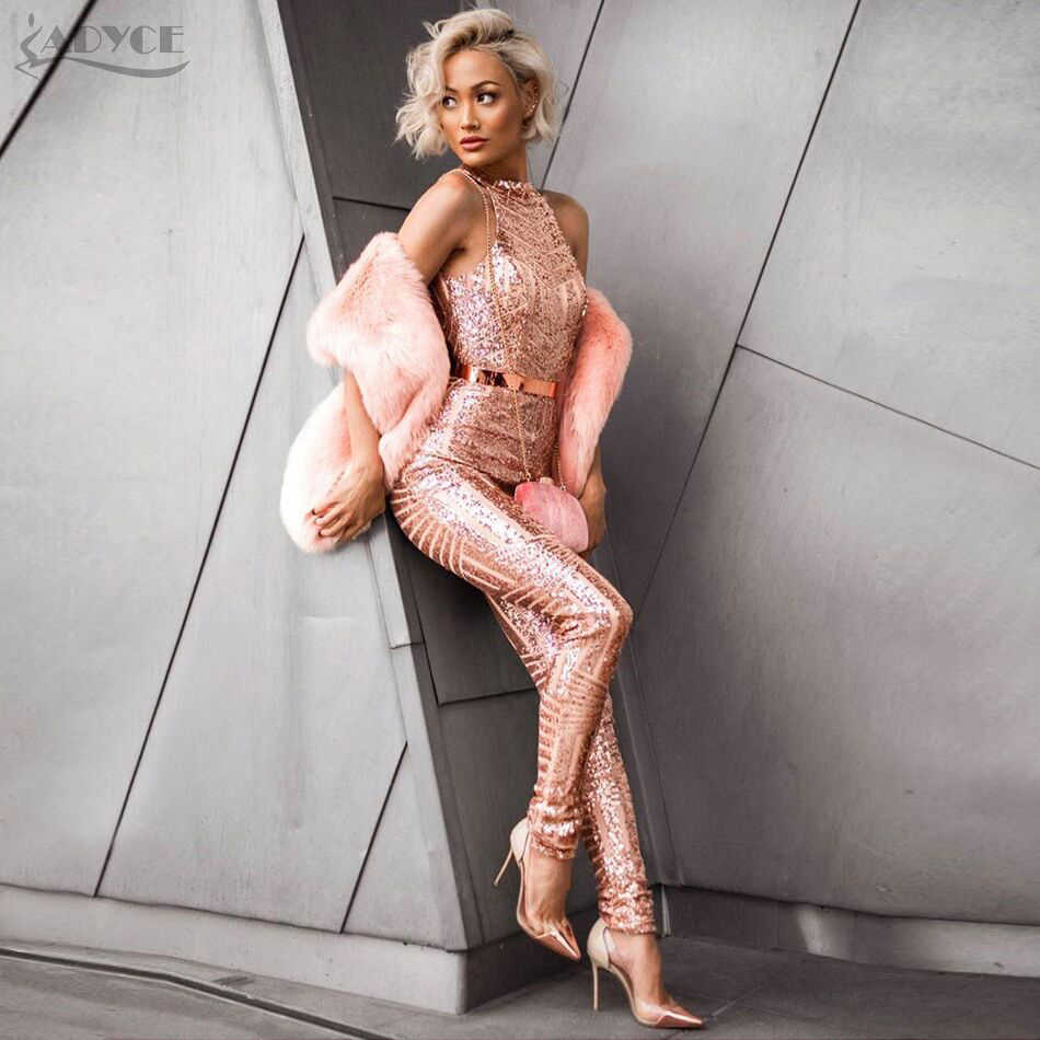 Adyce 2019 סקסי קיץ נשים Rompers בגד גוף זהב אדום מישמש ללא משענת נצנצים מלא אורך סלבריטאים המפלגה Bodycon סרבל