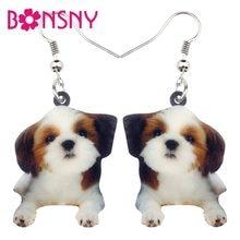 Bonsny Acrylic Sweet Cartoon Chinese Shih Tzu Dog Earrings Dangle Drop Cute Animal Jewelry For Women Girls Gift Accessories Bulk