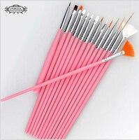 ג ' ל לק מברשת 1 set / 15 יחידות נייל professinal אמנות מברשת סט ציור עט עבור טבעי / שקר ו3d יופי מותג חדש