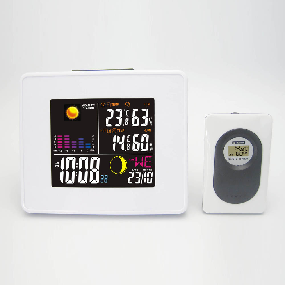 Фотография Wireless LED Weather Station DYKIE White Alarm Clock with Backlight Indoor Outdoor Temperature Humidity Free Shipping