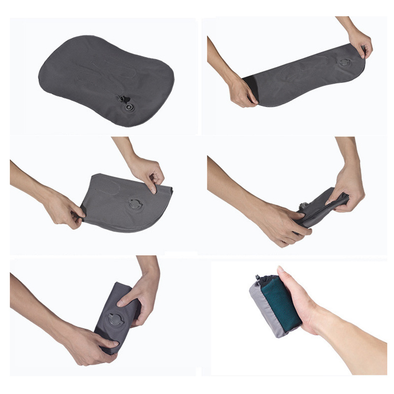 Image 5 - Outdoor Travel Air Pillow Beach Inflatable Cushion Car Head Rest Hiking Inflatable Portable Folding Double Sided Pillow-in Camping Mat from Sports & Entertainment