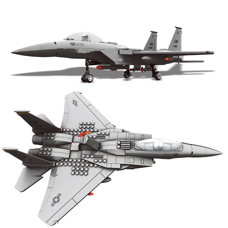 Building Blocks Compatible Brand 270Pcs Military Series F-15 Eagle Fighter MOC Airplane Model Kits Assemble Toys For Adults Gift