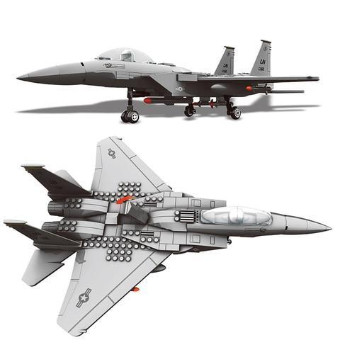 blocos de construcao cabem legoinglys 270 pces serie militar f 15 eagle fighter moc aviao