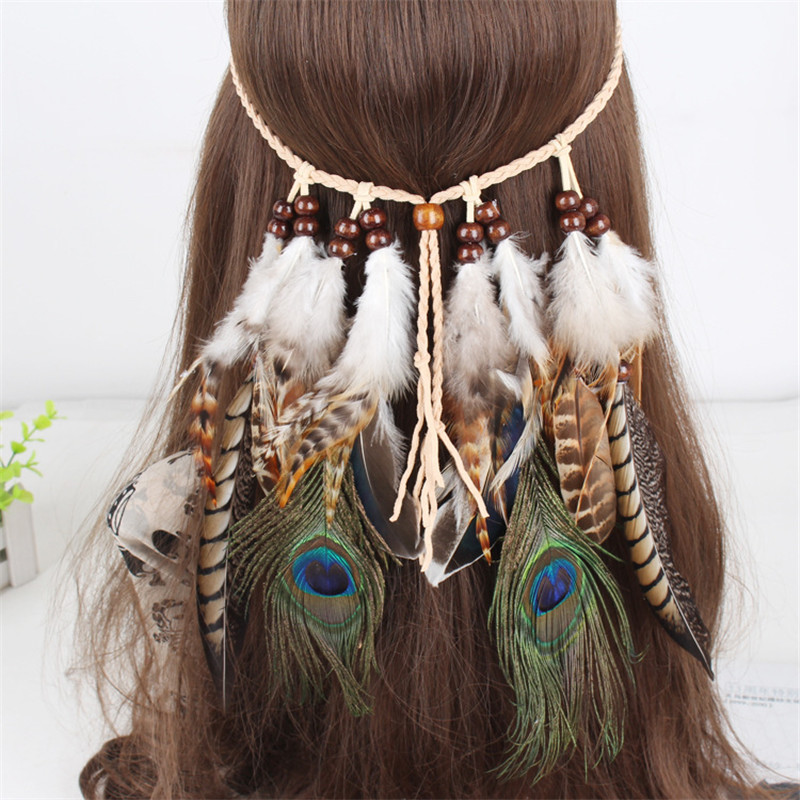 Designer Bindi Indian Feather Head Jewelry For women Hiphop Bohemia Hairbands Female Hair Decoration Prom Headdress Accessories ...