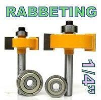 2 Pc 1 4 Shank 1 2 3 8 Rabbeting Slotting Router Bit W 2pc Bearings