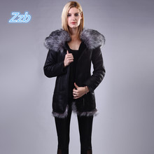 2018 Winter new women s coat fashion Faux fox fur hooded warm winter large size Jacket
