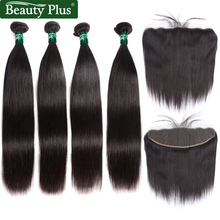 4 stk Brasilian Straight Human Hair Bundles med Closure Beauty Plus Øre til Ear Pre Plukket Blonder Frontal Med Bundler Non Remy