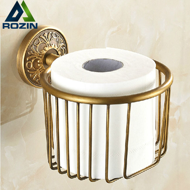 цена Free Shipping Artistic Toilet Paper Basket Wall Mount Bathroom Paper Tissue Holder Antique Brass Finish