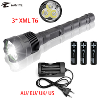 Waterproof 5 Mode LED Tactical Flashlight 18650 Powerful 3600 LM 3x XML T6 LED Police Flash
