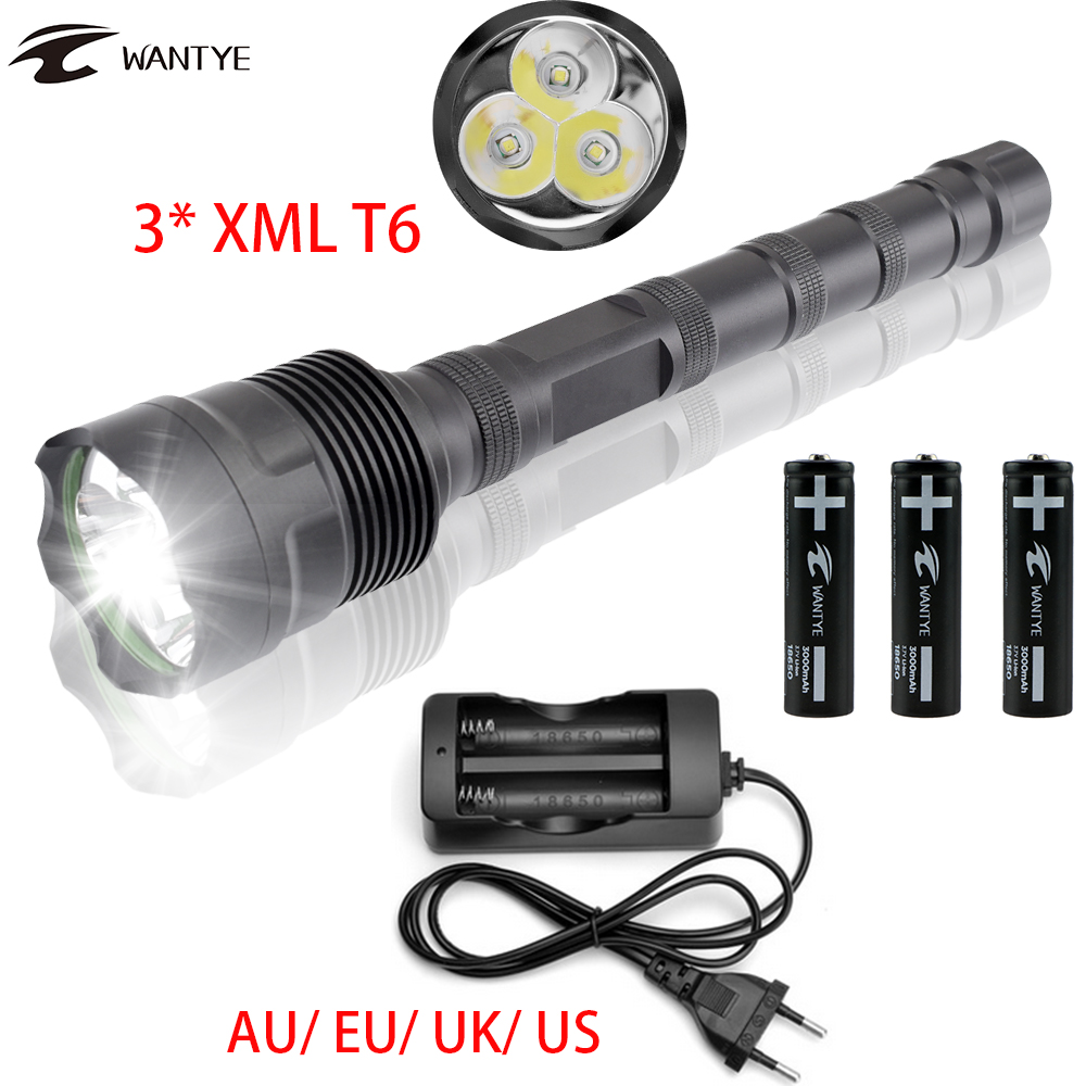 Waterproof 5 Mode LED Tactical Flashlight 18650 Powerful 3600 LM 3x XML T6 LED Police Flash light Torch+18650 Battery+AC Charger цена и фото