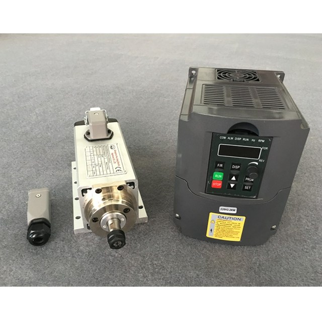 CNC Router Spindle Motor 1.5KW Air Cooled Machine Tool Spindle + 220V/1.5KW Inverter Square Milling Machine