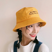 Women Fashion sun hat Concise Casual Letter Printed Beach Travel Folding Sunscreen Bucket Hat