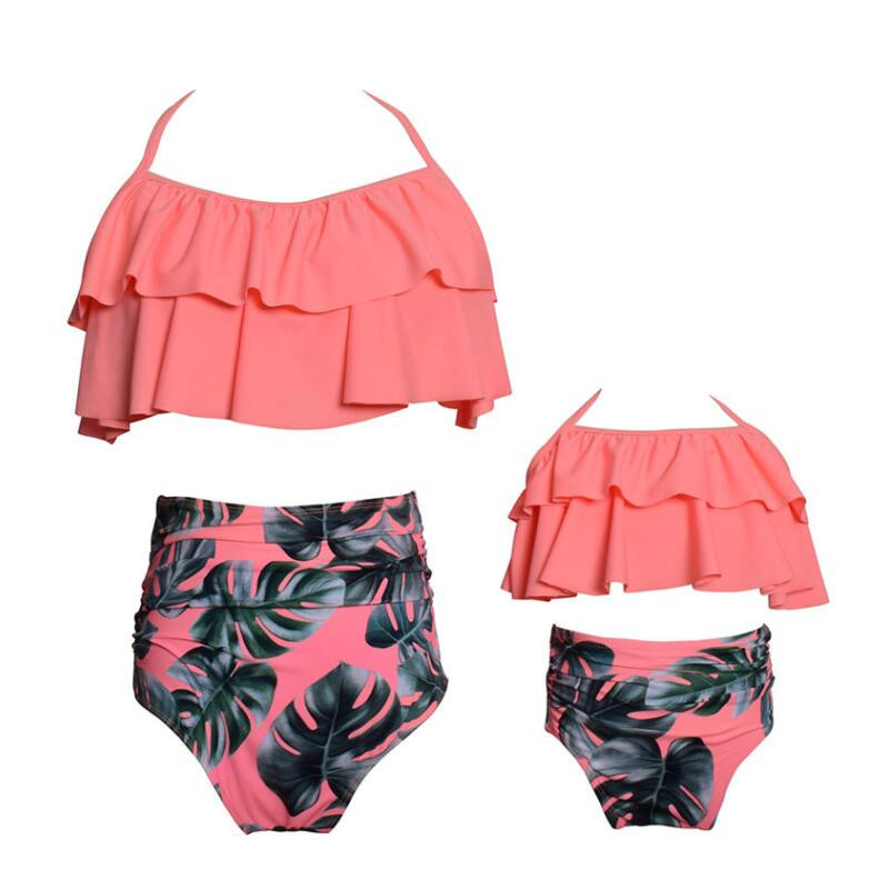 New Family Matching Swimwear Spa Mom Daughter Swimsuit Mother Daughter Bikini Bathing Suit Kids Swimwear Family Matching Outfits (5)