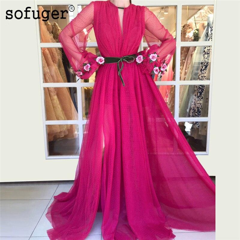 Fuchsia Muslim   Evening     Dresses   2019 A-line Long Sleeves Tulle Islamic Dubai Saudi Arabic Long Formal   Evening   Gown Prom   Dress