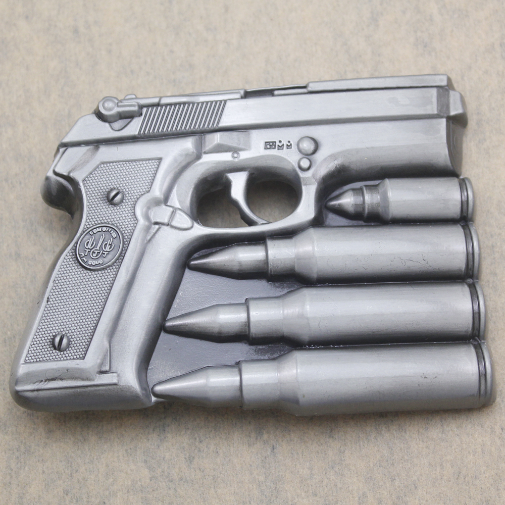 Hand Gun Bullets Men Silver Pistol Military Western Rodeo Texas Belt Buckle Exchange Jewelry Acessories