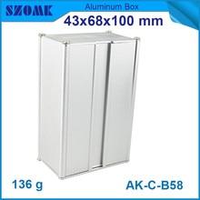 4pcs/lot heatsink aluminium enclosure anodizing switch instrument case for pcb broad 43x68x100mm